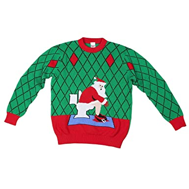 funqi gifts mens toilet santa ugly christmas sweater small green - Amazon Christmas Sweater