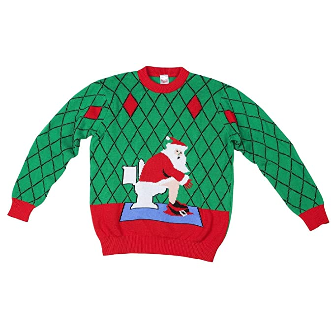 Toilet Santa Ugly Christmas Sweater-FunQi, Green at Amazon Men's ...