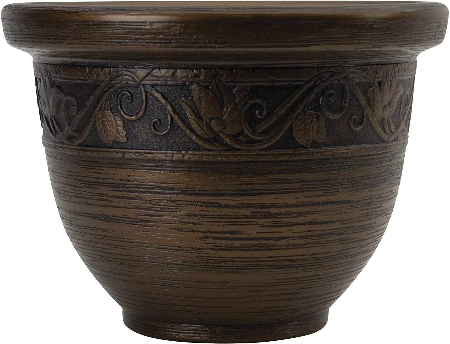 Listo Round Resin Planter - The HC Companies | 9-Inch Decorative Glaze Resin Pottery Flower Pot Planters for Indoor/Outdoor Plants | Celtic Bronze (ZEA09001P54)