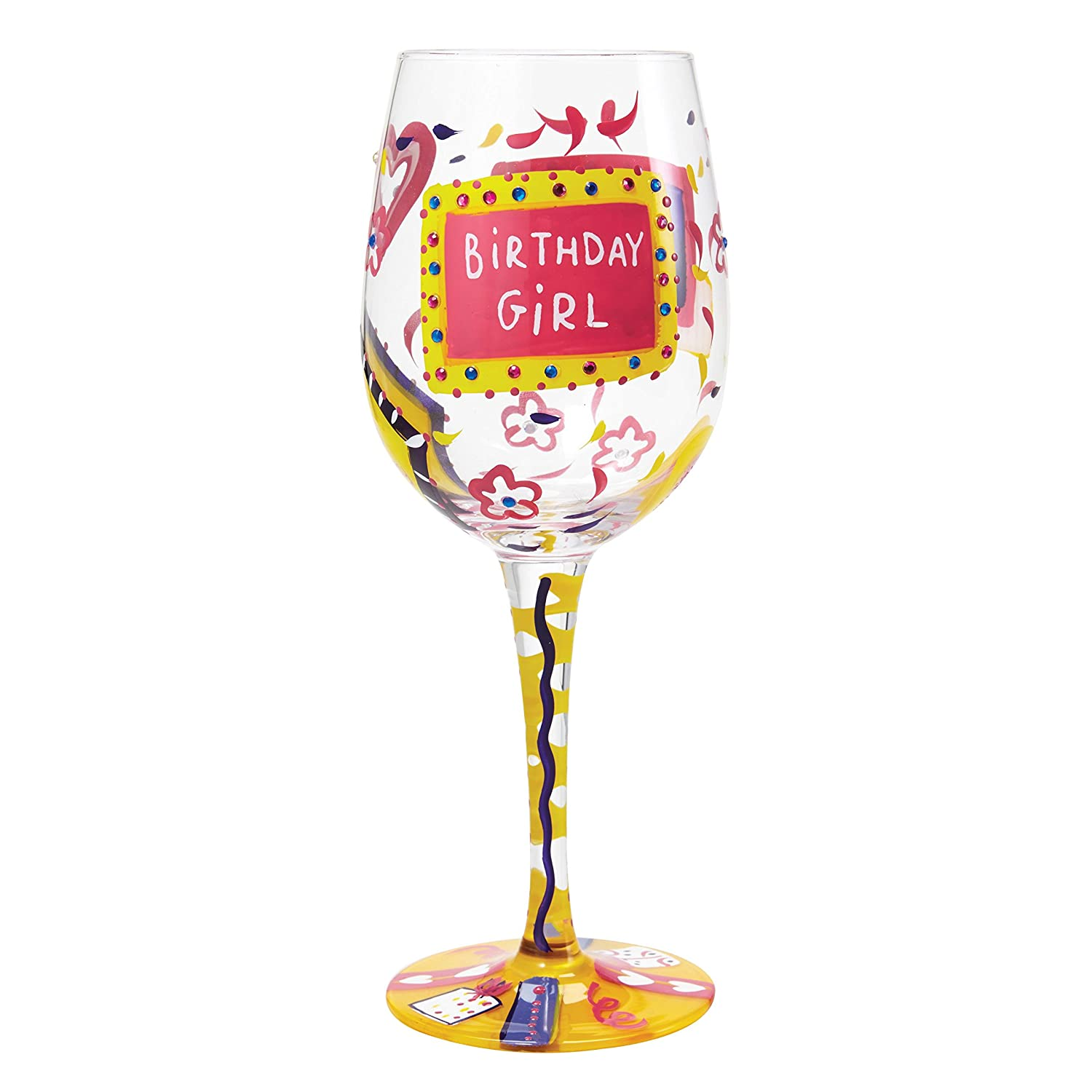 Enesco Presents Lolita Super Bling Collection Wine Glass, Birthday Girl Santa Barbara Design Studio GLS20-5524G