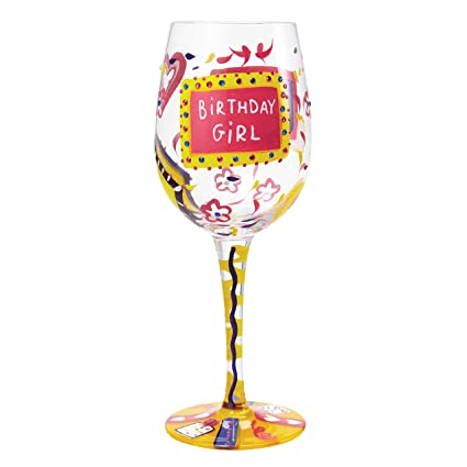 Image Unavailable Not Available For Color Lolita Birthday Girl Artisan Painted Wine Glass Gift