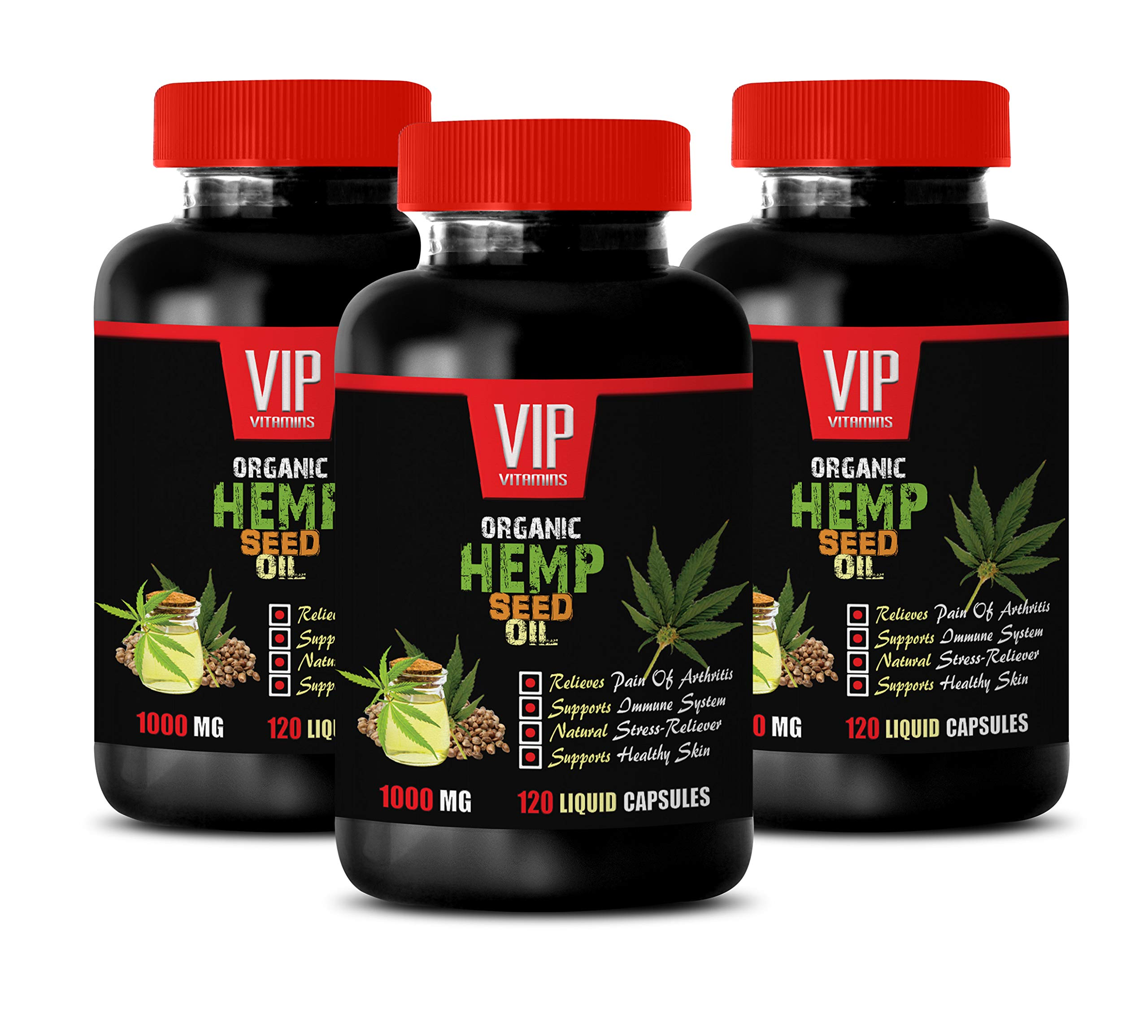 Brain Booster Supplements Focus Memory - Hemp Seed Oil Organic 1000Mg - Hemp Seed Oil Capsules Anxiety Sleep - 3 Bottles 360 Liquid Capsules