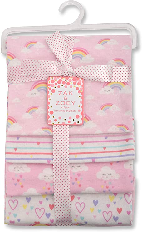 to Infinity and Beyond Zak and Zoey Lovable and Cozy 4-Pack Receiving Baby Blankets 100/% Cotton 26 x 26