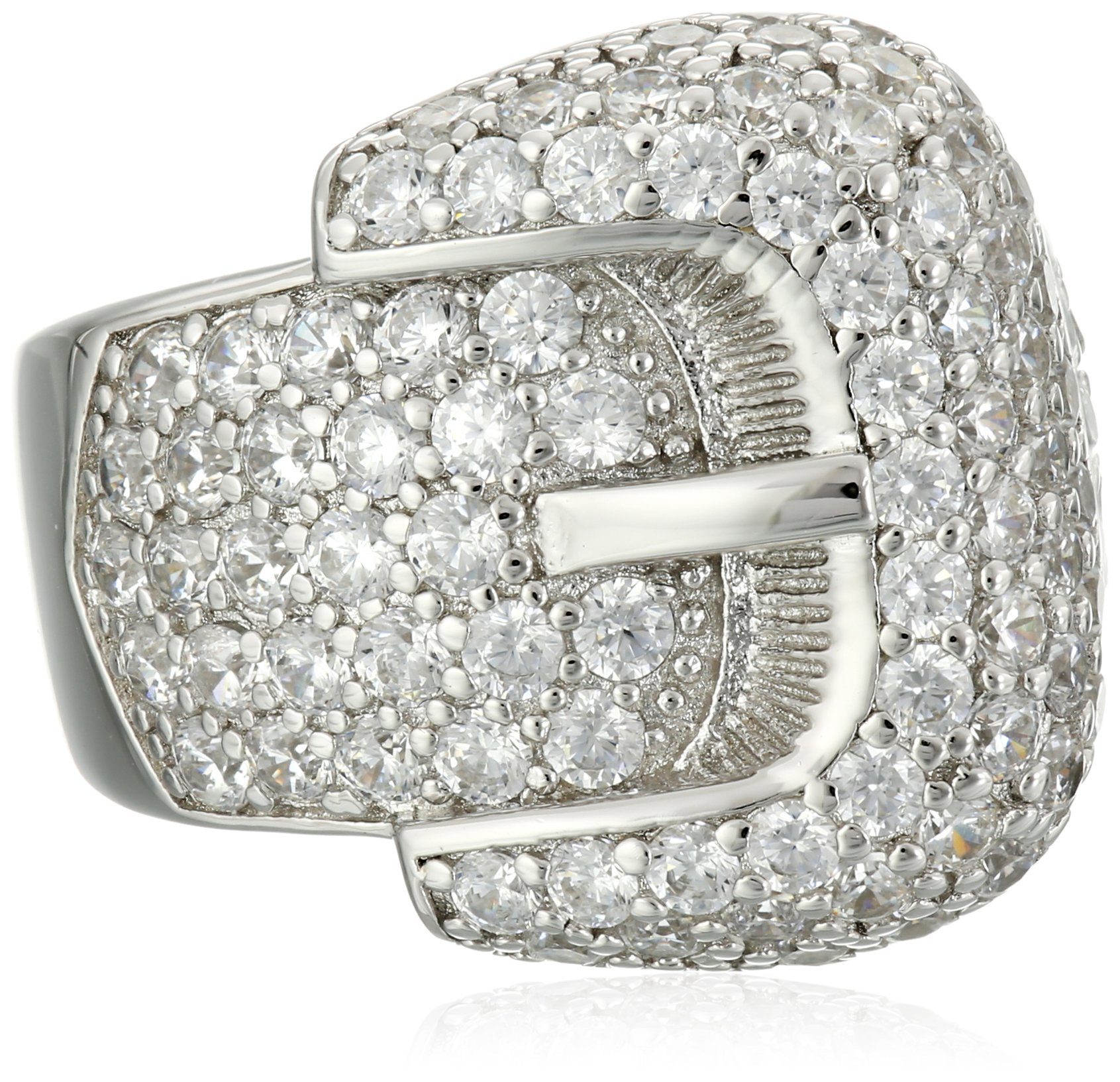 Charles Winston, Sterling Silver, Cubic Zirconia Award Winning Buckle Ring, 2.70 ct. tw., Size 7
