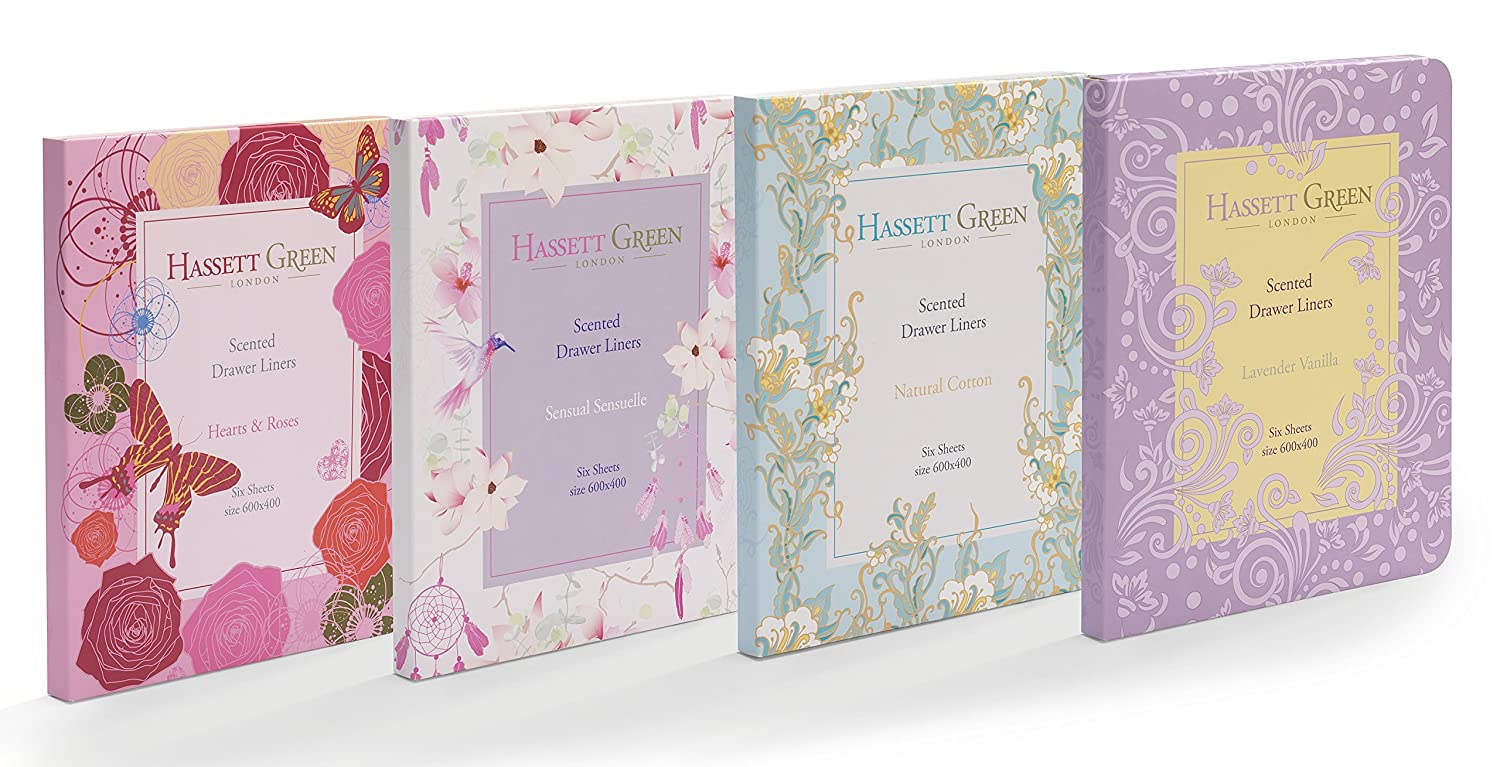 Four Pack Scented Drawer Liners - Natural Cotton - Lavender Vanilla - Hearts & Roses - Sensual Sensuelle - 6 Sheets size 600 x 400 In Every Box Hassett Green