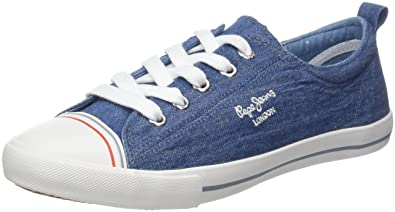 London, Sneakers Basses Femme, Bleu (Azzurro), 37 (EU)Pepe Jeans London