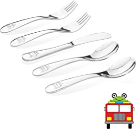Kiddobloom Kids Stainless Steel Utensil Set, Fire Truck Model, 5pc set (2 Spoons, 2 Forks, and 1 Butter Knife) Safe Flatware for Toddlers and Kids, Perfect For Party Favors