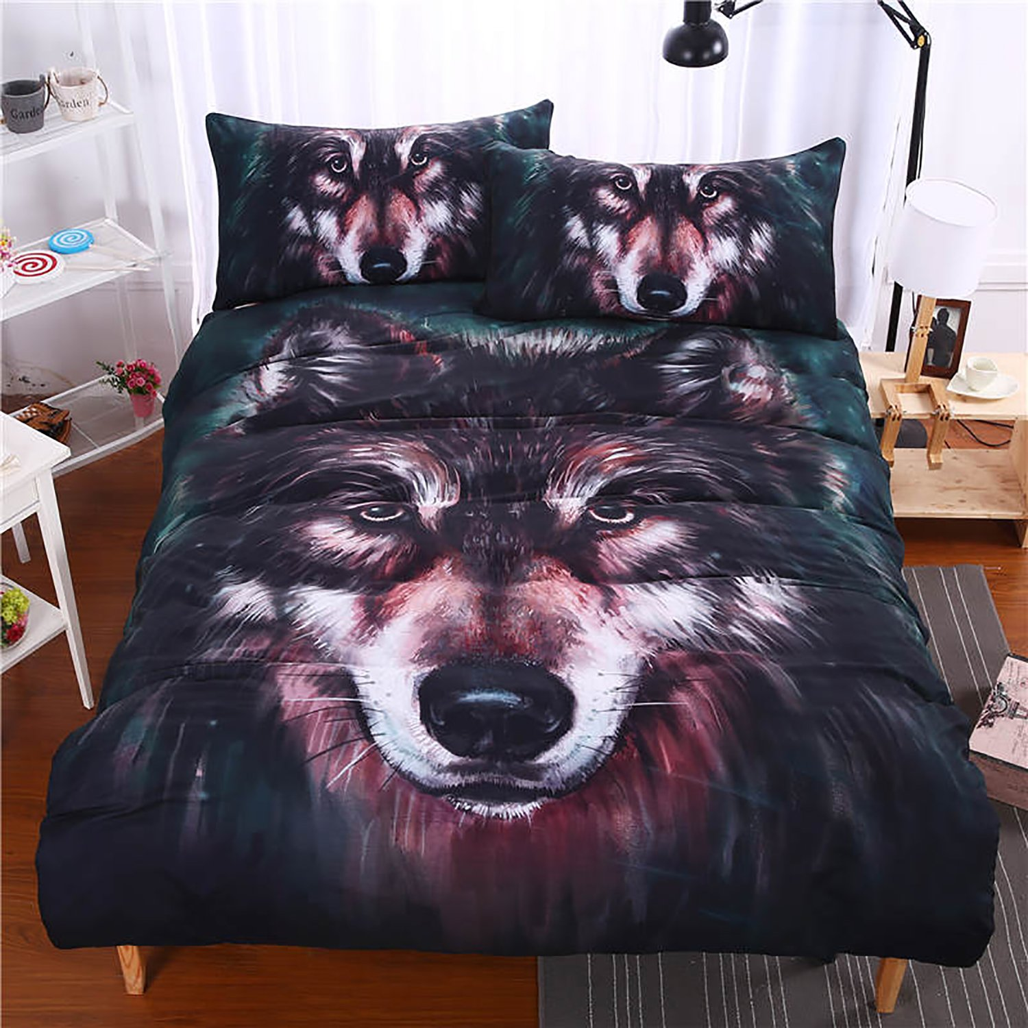 LightInTheBox BeddingOutlet Wolf Bedding Set Painting 3D Vivid Comforter Cover Quality Twill Cool Bed Set Multi Sizes 3pcs(1 Duvet Cover,2 Shams) S531135200007#DHL#wh=24