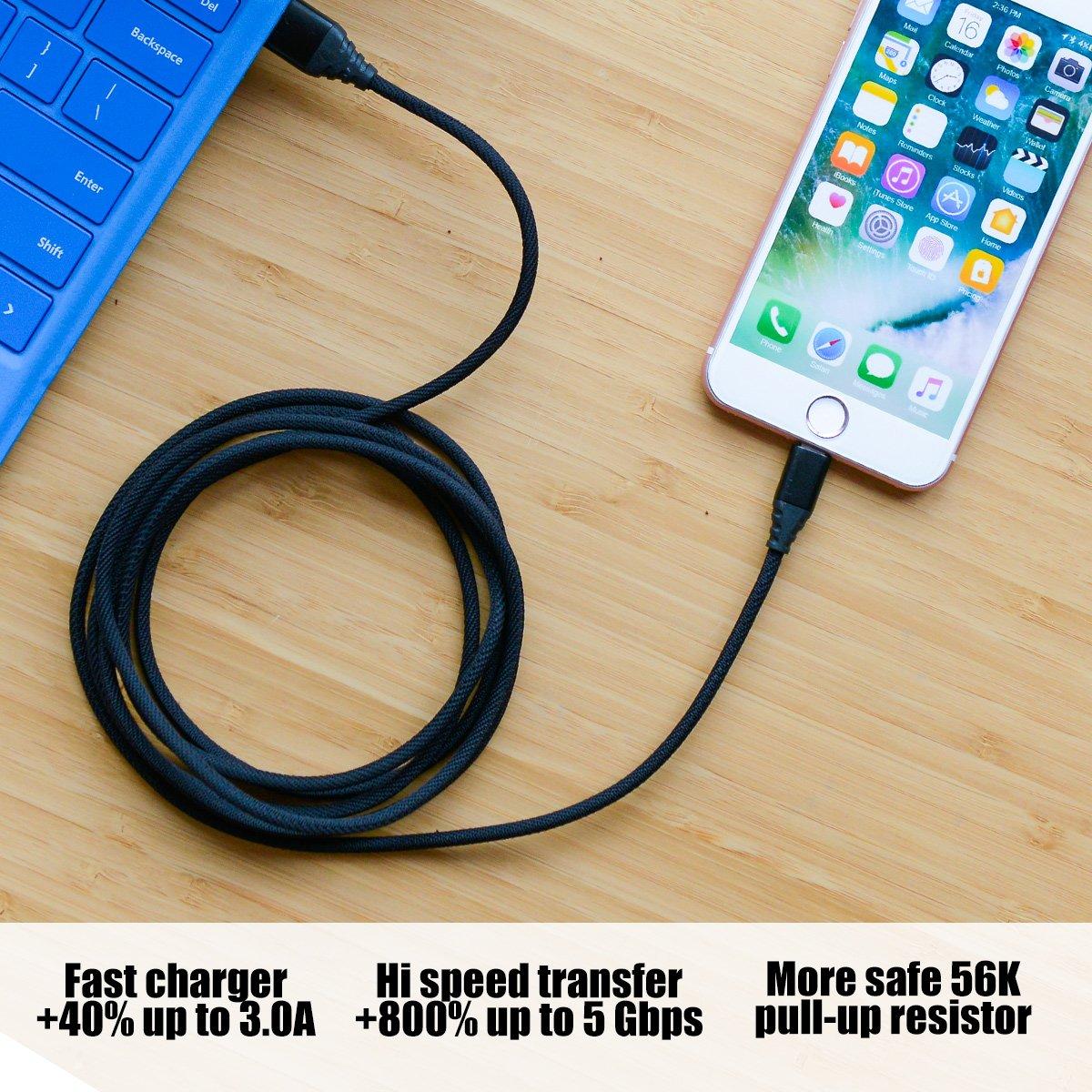 amazon com kuool charger for phone 3 pack 10 ft 6 ft 3 ft light rh amazon com