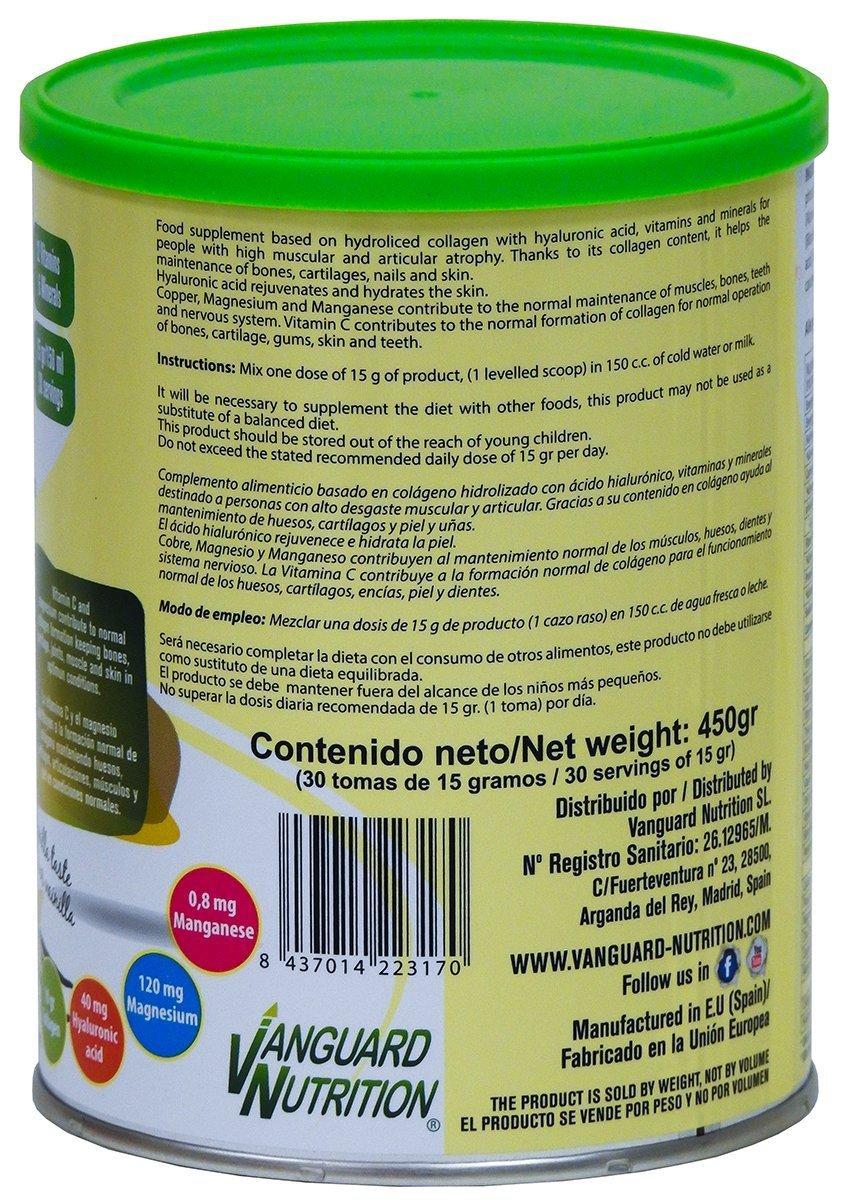 Colágeno con ácido hialurónico (40 mg), magnesio, manganeso, Vitamina C. Sabor vainilla. VNSup: Amazon.es: Salud y cuidado personal