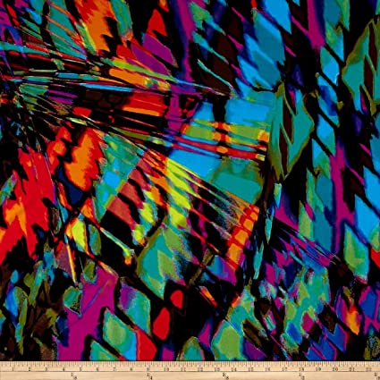 1b99bf6bacf Amazon.com: TELIO 0438065 Brazil Stretch ITY Knit Abstract Print  Magenta/Green/Blue Fabric by The Yard