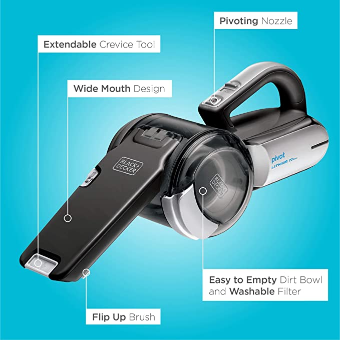 Black+Decker 20v MAX Lithium Pivot Vacuum Includes Vacuum, Washable Filter,pre-filter, Onboard Brush, Onboard Crevice Tool, Charging Base: Amazon.es: Hogar