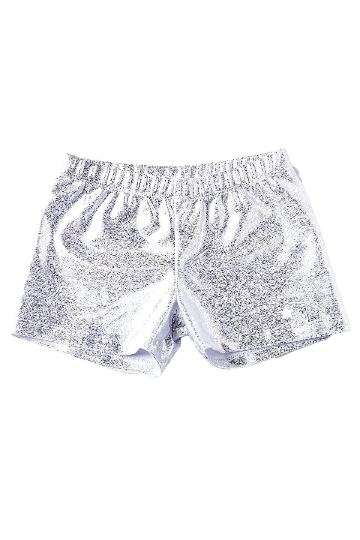 e4e260e93 Galleon - DESTIRA Silver Gymnastics Sport Shorts For Girls