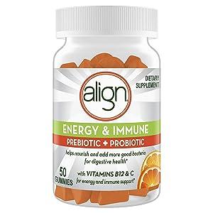 Align Energy & Immune Prebiotic + Probiotic Supplement Gummies, Citrus Flavored, 50 Count