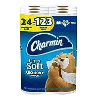 Charmin Ultra Soft Cushiony Touch Toilet Paper, 24 Family Mega Rolls = 123 Regular...