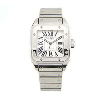 4fa61267f Image Unavailable. Image not available for. Color: Cartier Santos 100 Stainless  Steel Men's Watch ...