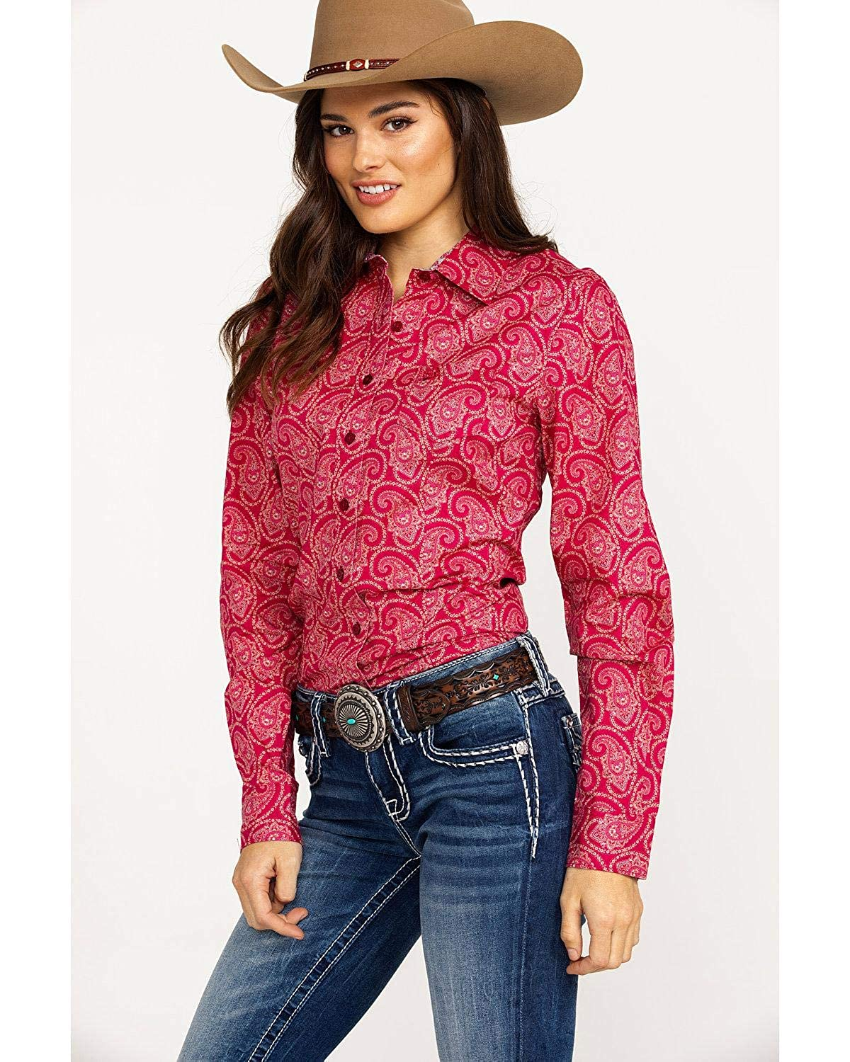 b2ab3173 Cinch Women's Paisley Print Logo Button Long Sleeve Western Shirt at Amazon Women's  Clothing store: