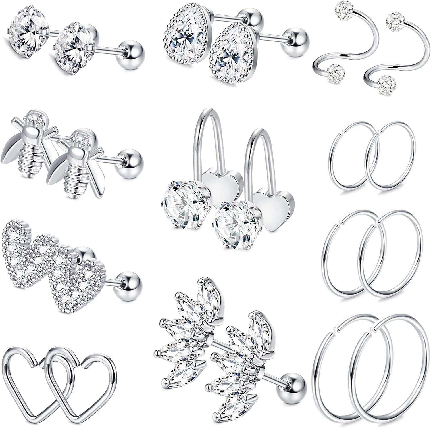 LOYALLOOK 11 Pairs 16G Stainless Steel Bee Heart Shaped Helix Cartilage Tragus Stud Earring Hoops CZ Barbell Piercing Earrings Stud Body conch Piercing Jewelry