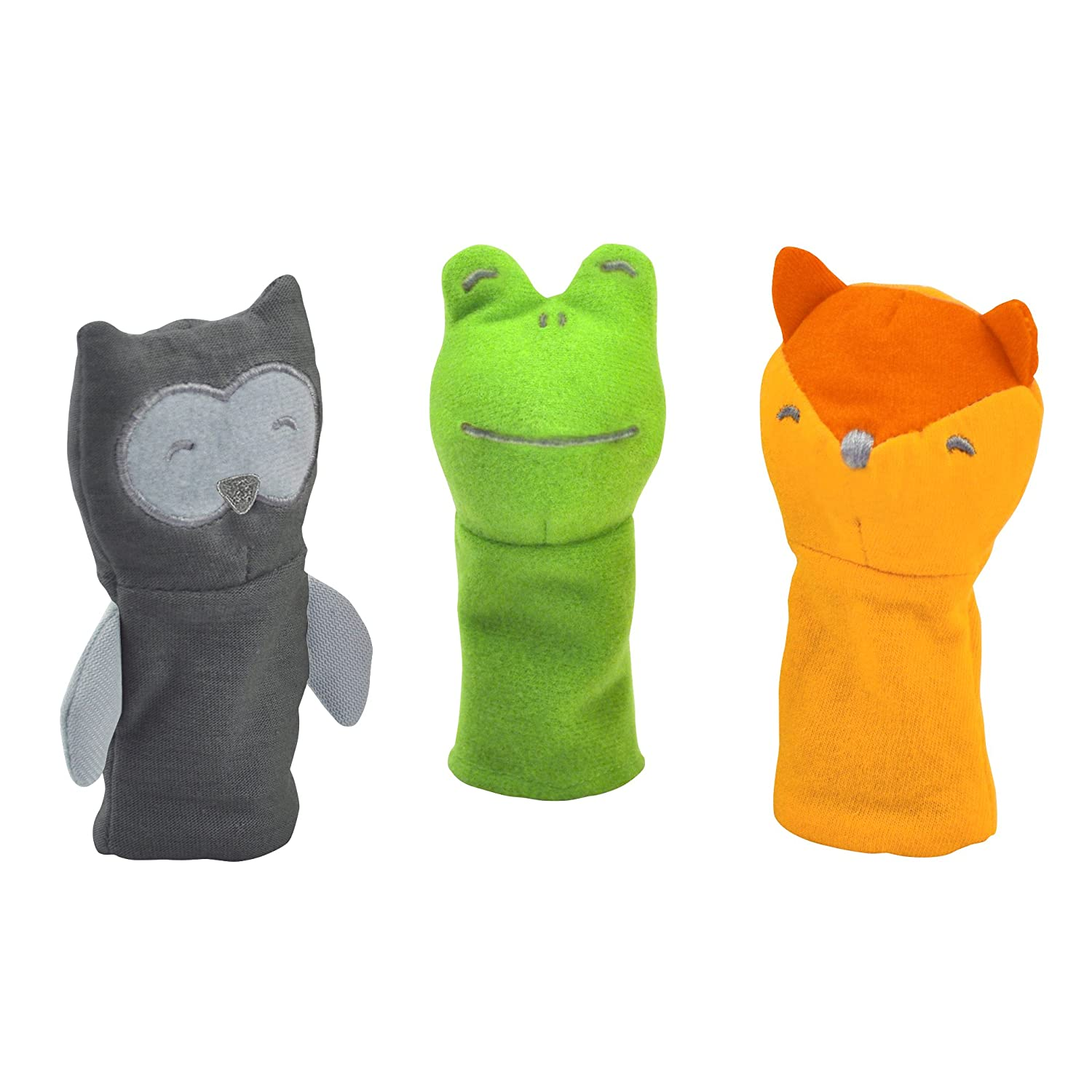 green sprouts Finger Puppets made from Organic Cotton (3 pack)   Encourages whole learning the healthy & natural way   Grows with baby, Soft & flexible, Organic 210090-906-33