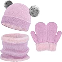 QKURT Niños Sombrero Caliente Bufanda tubular y Gloves, Sombreros Bufanda Mitones de Caliente Punto para Niños y Niñas…