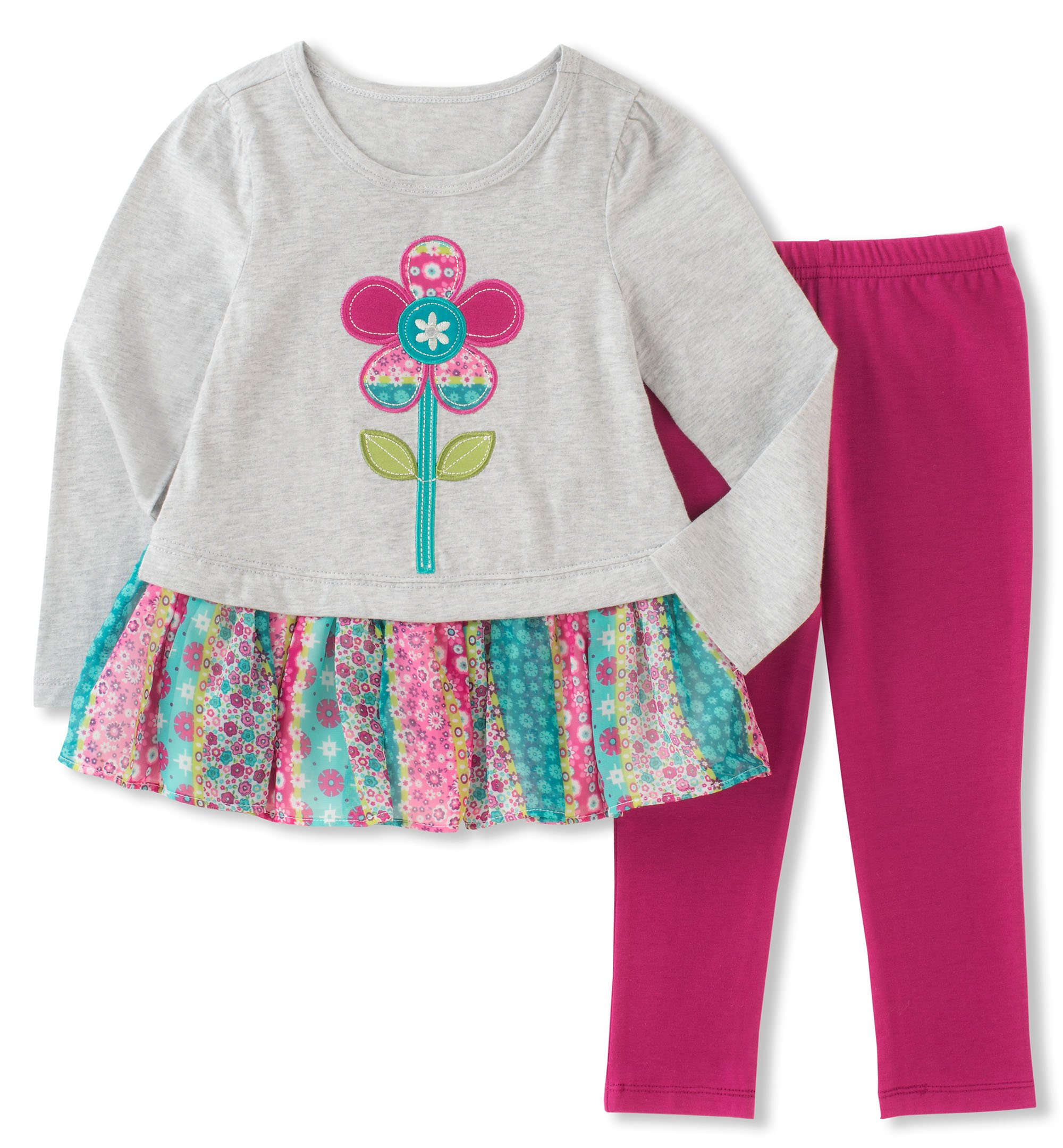 Kids Headquarters Little Girls' Tunic Legging Set, Grey/Multi/Berry, 5