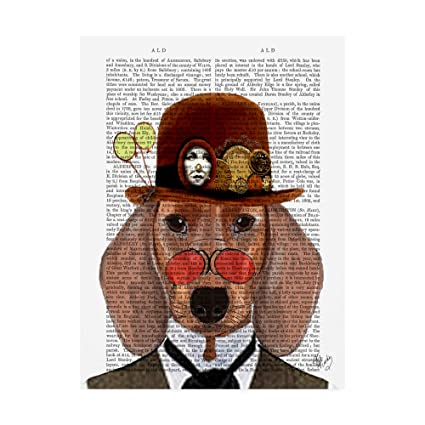 Image Unavailable. Image not available for. Color  Trademark Fine Art  Dachshund with Steampunk Bowler Hat by Fab Funky ... 928cb8a72456
