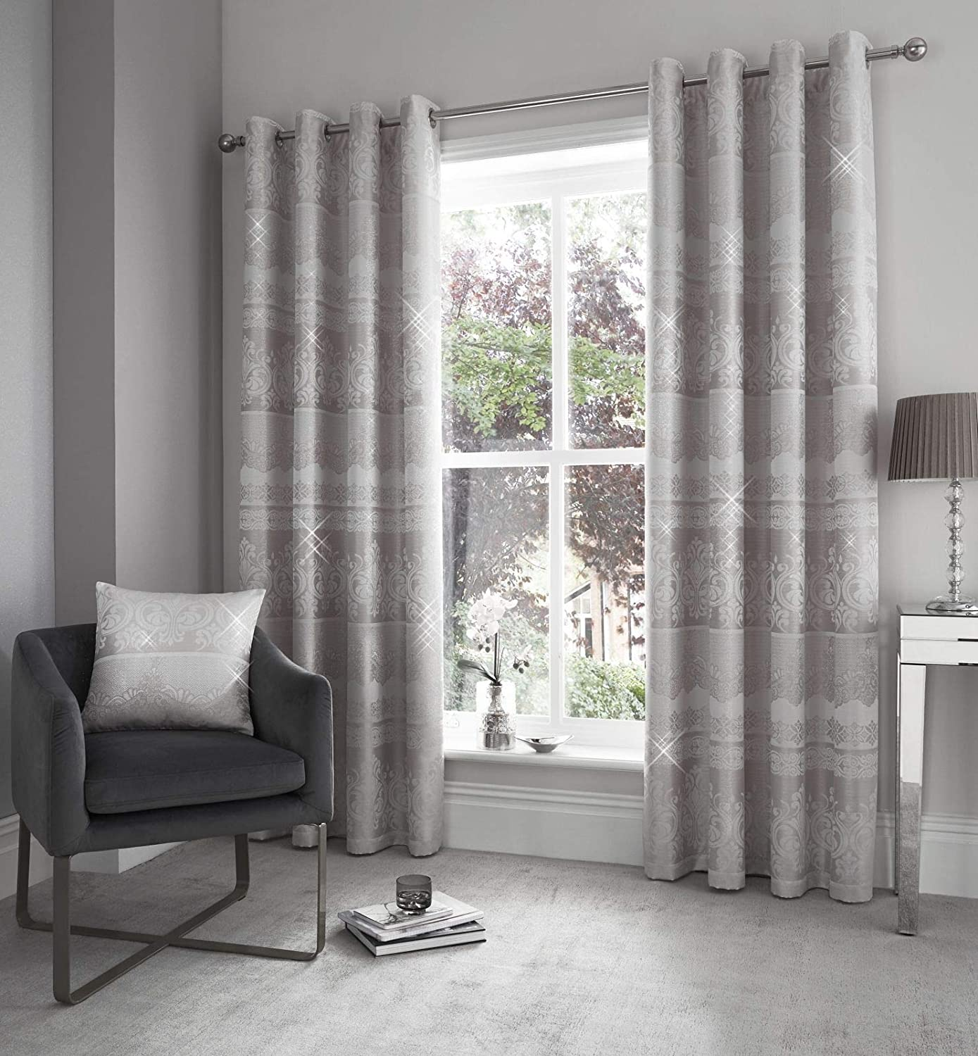 Catherine Lansfield Elegance Jacquard Ösenvorhang, Polyester, Silber, Eyelet Curtains - 66x90 inch,
