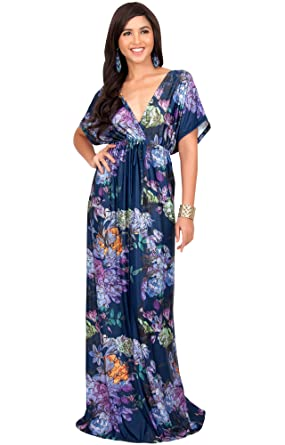 a250653344 KOH KOH Petite Womens Long Kimono Sleeve Short Sleeves V-Neck Vintage  Floral Print Summer