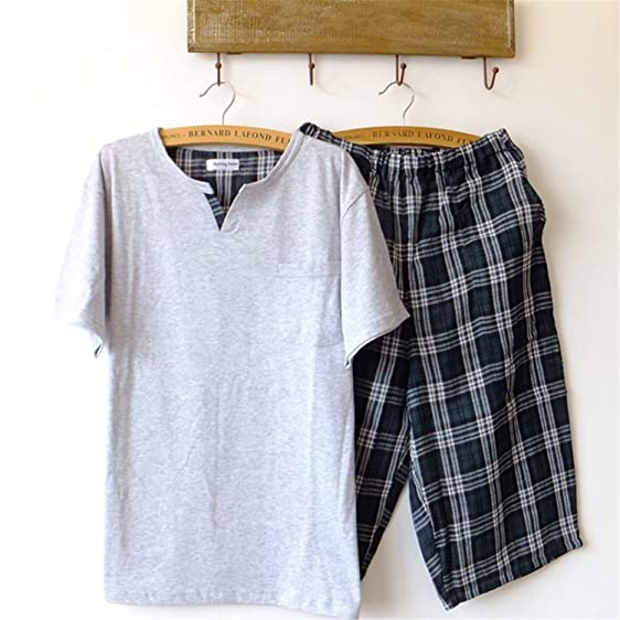 Michael Stevenson Pajamas Men Summer Short-Sleeve 5 Pants Knitted Sleepwear Gauze Pyjamas Men Lounge