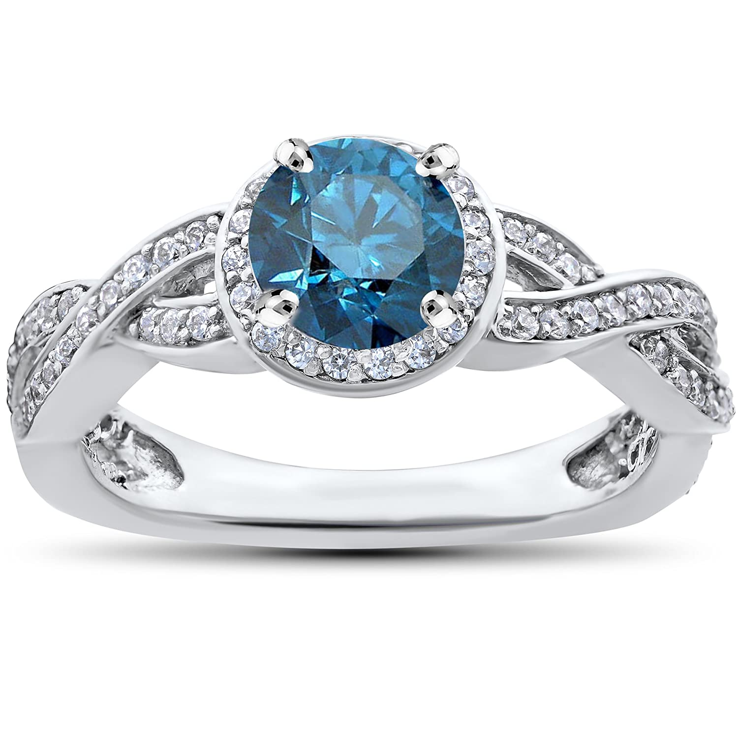 3 4ct pave halo blue diamond engagement ring 14k white gold