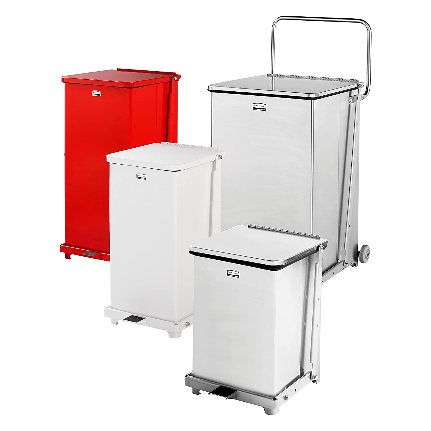 7-gallon Square with Retaining Band Rubbermaid Commercial FGQST7ERBWH The Silent Defenders Steel Step Trash Can White Rubbermaid Commercial Products