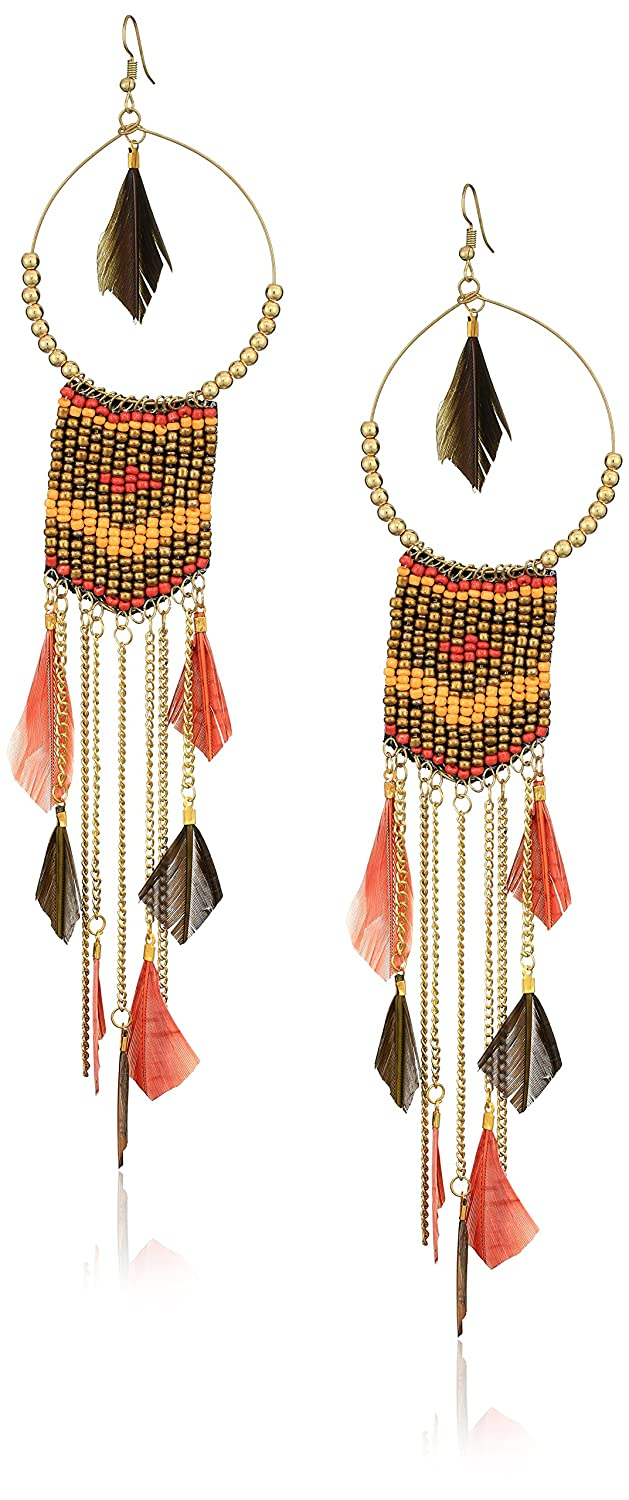 Panacea Women's Brown Multi Bead Feather Drop Earrings, Brown/Yellow, 6.5 The Pannee Group Inc. E02350MBRG3