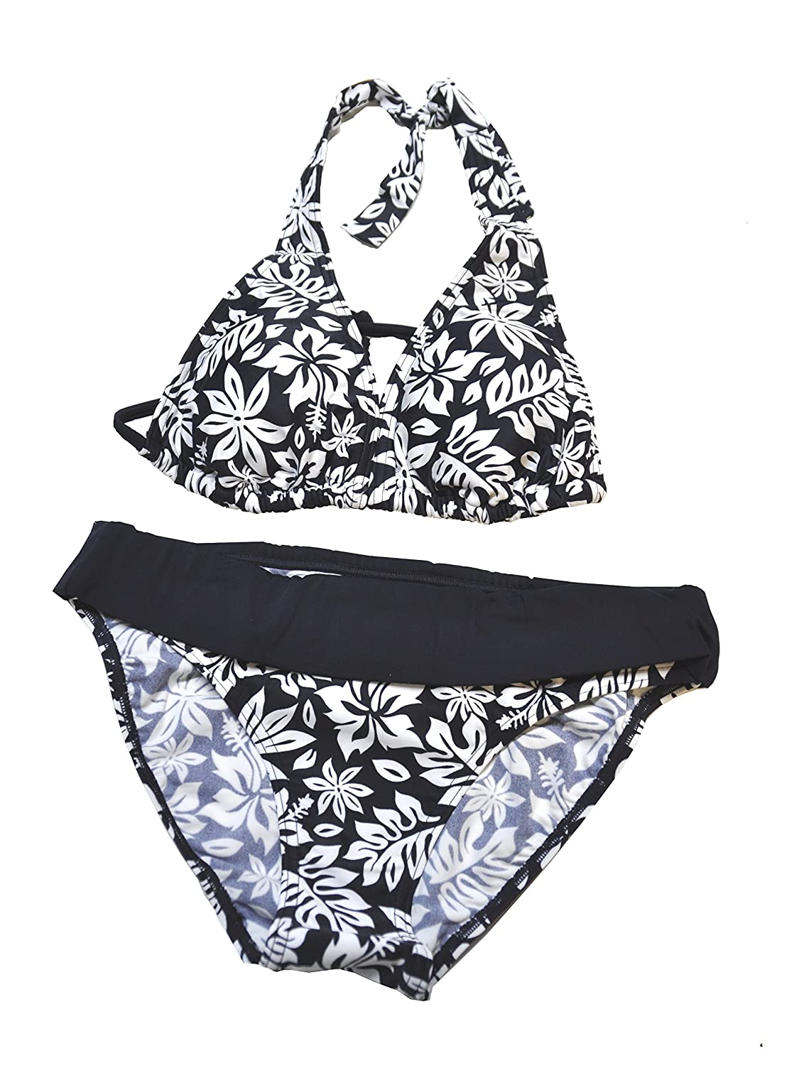 Speedo Damen Halterneck Bikini Medium Leg Speedo Navy / White