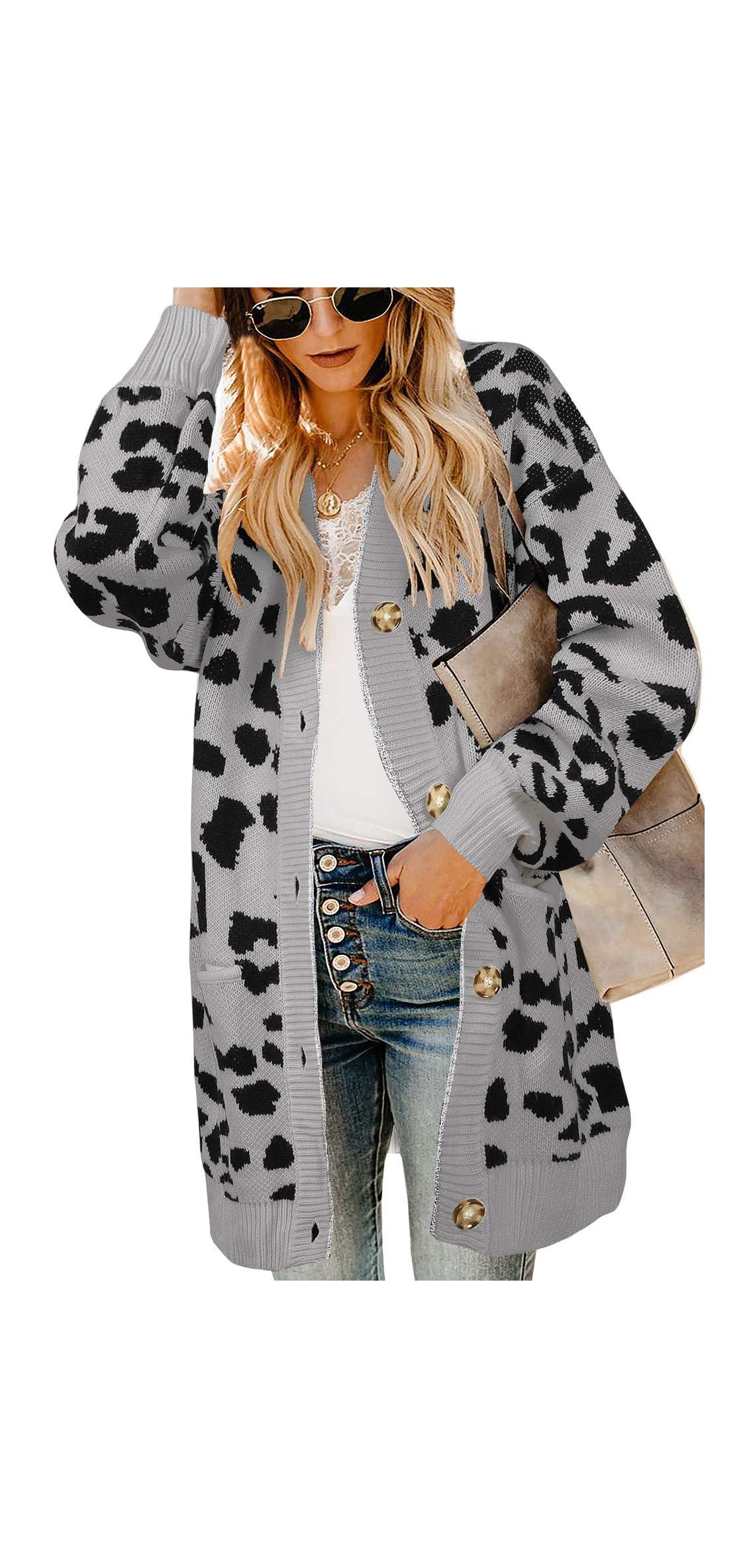 Women Leopard Cardigan Long Open Front Sweaters Oversized