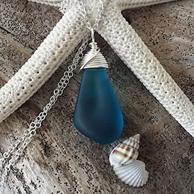 Handmade in Hawaii, wire wrapped jewelry teal blue sea glass necklace, sterling silver chain, Hawaiian Gift, FREE gift wrap, FREE gift message, FREE shipping