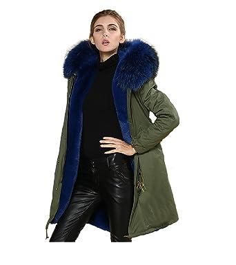 Parka XXL cuello de auténtica piel 100% pelo auténtico chaqueta abrigo caqui, en 8 colores: Amazon.es: Ropa y accesorios