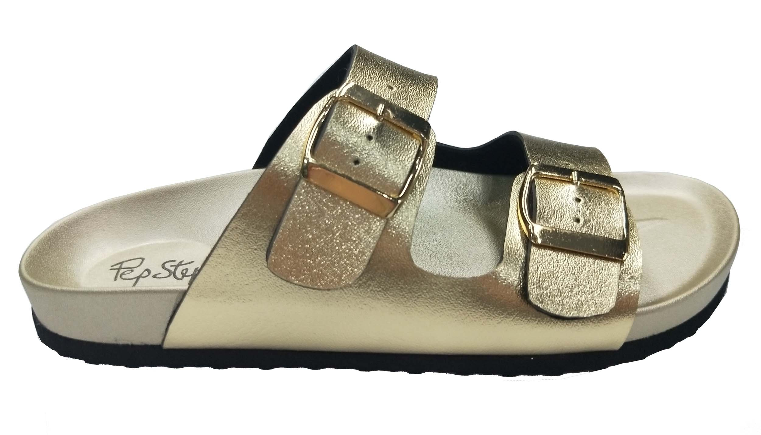 Pepstep Buckle Strap Sandals for Women Super Lightweight and Comfortable Golden/Black Womens Footbed Slide Sandals(9, Golden) by Pepstep (Image #5)