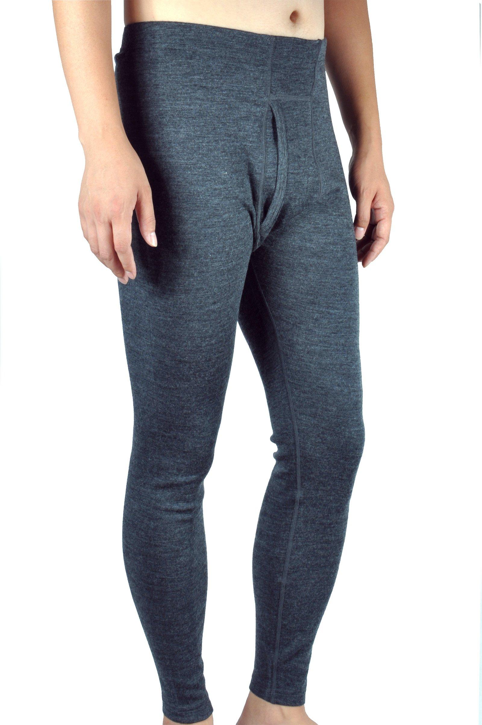 100% Merino Wool Men's Midweight Base Layer Thermal Underwear Bottoms Pants Long John (M, Charcoal Gray) by Sheep Run