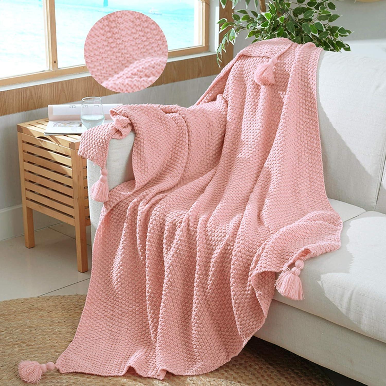 Shaddock Manta Tejida con Borla - Cable de algodón Súper Suave Cálida Manta de Punto para sofá Sofá Cama de Silla de Playa Decorativa para el hogar 130x180cm Toda la Temporada (Rosado)