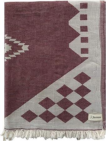 Couverture Bordeaux//Beige Plaid coton-Couverture plaid Voyage Couverture Couverture Couverture