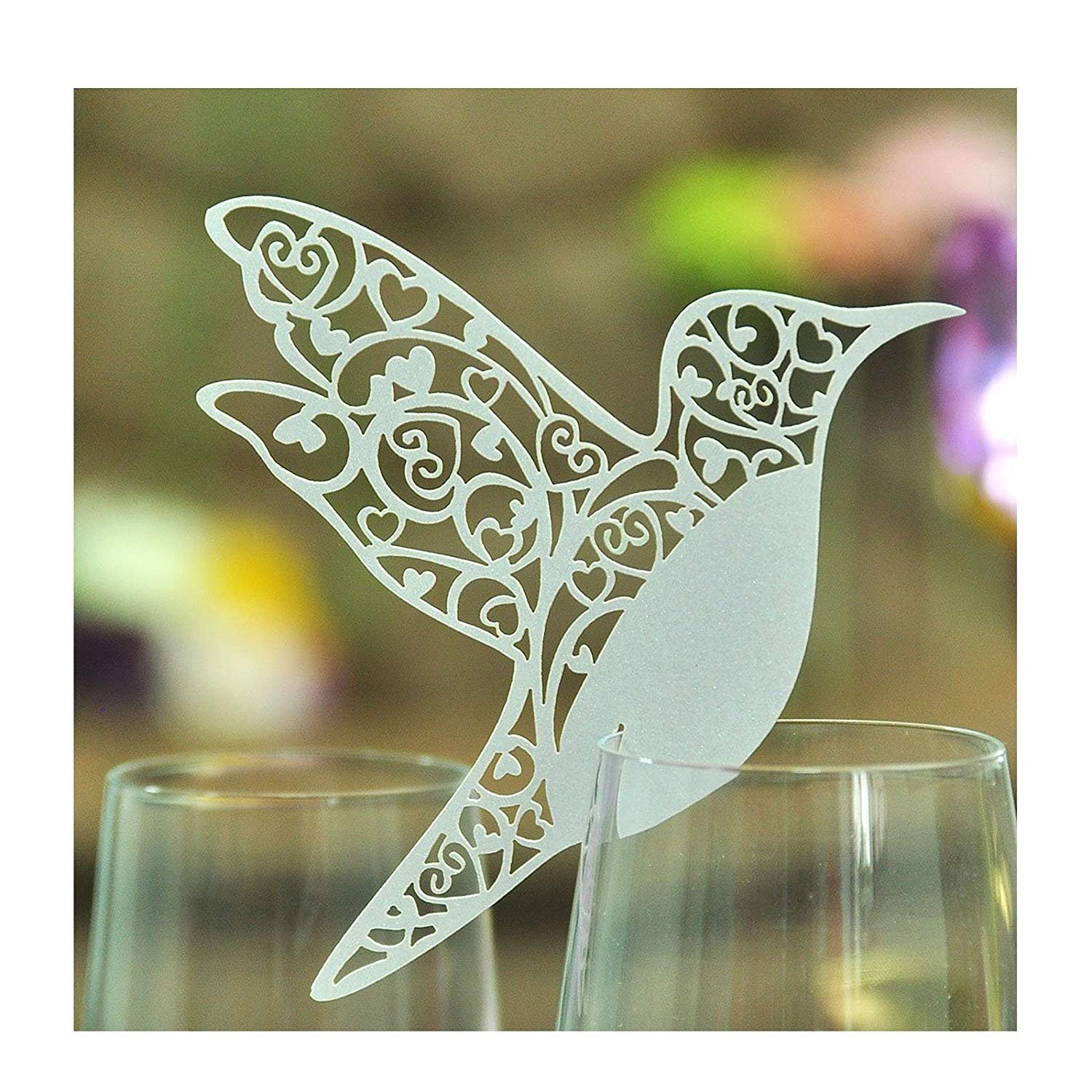 Lyanther Laser cut Hummingbird Name Place Cards, Pack of 50, White