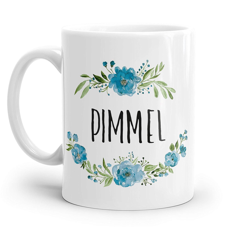 Kaffeebecher mit blauen Blumen Pimmel Tasse Becher Kaffeetasse