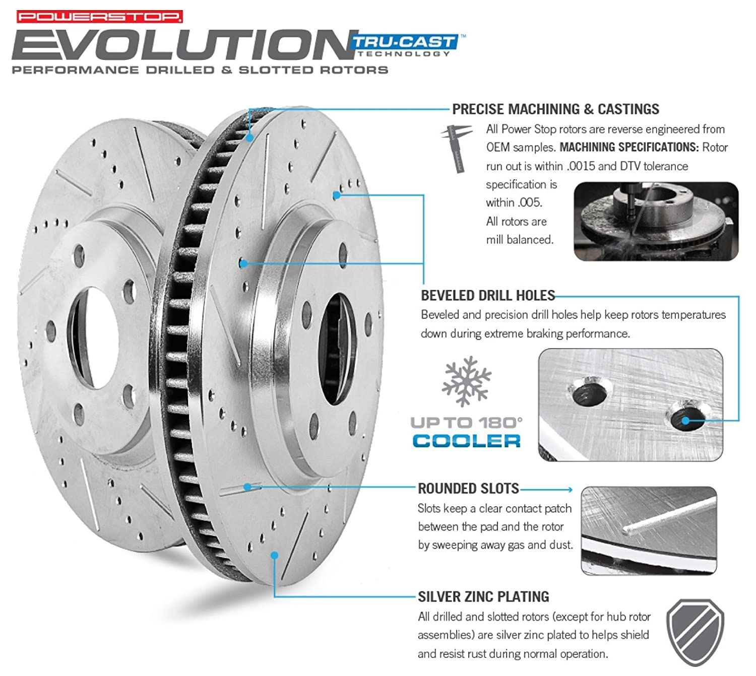 Power Stop K6095 Front /& Rear Brake Kit with Drilled//Slotted Brake Rotors and Z23 Evolution Ceramic Brake Pads