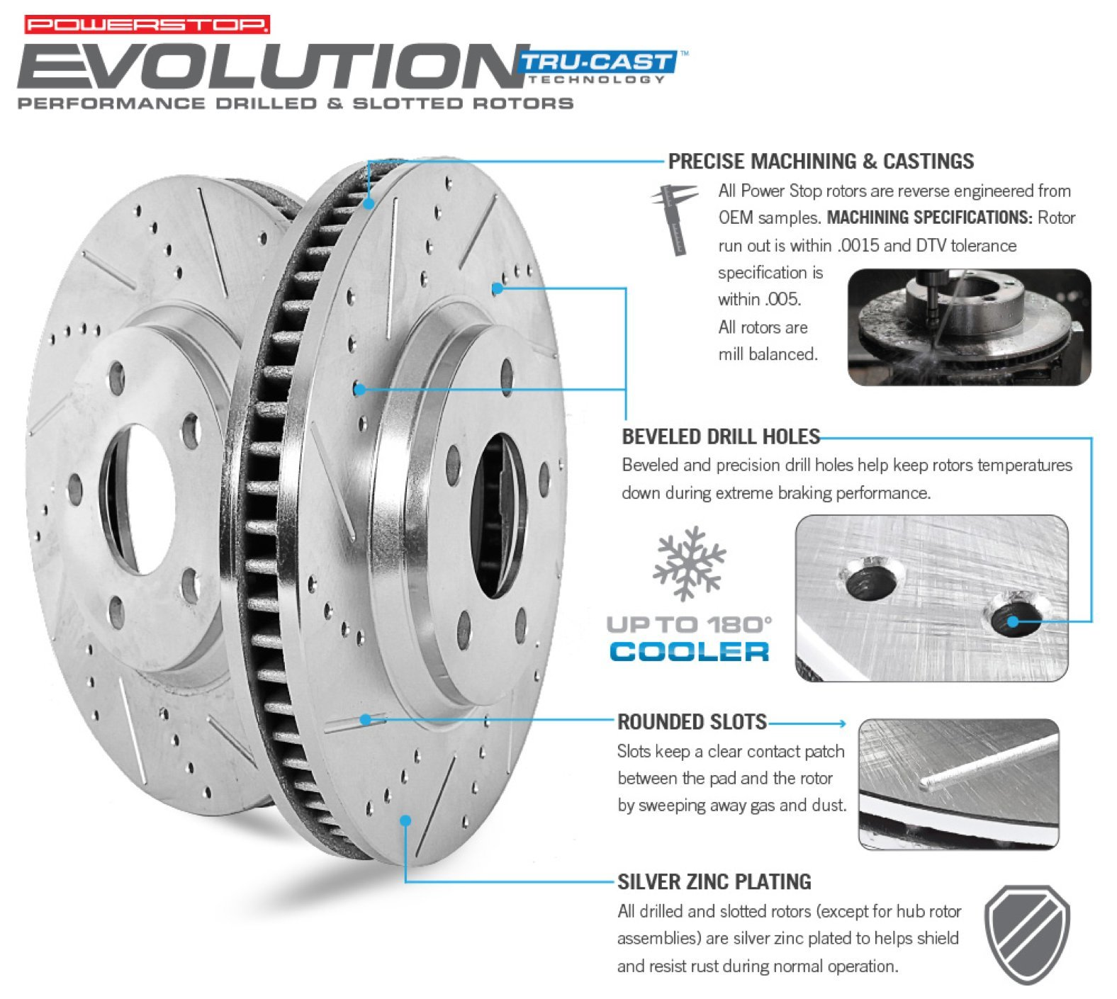 Power Stop K5583 Front Z23 Evolution Brake Kit with Drilled/Slotted Rotors and Ceramic Brake Pads