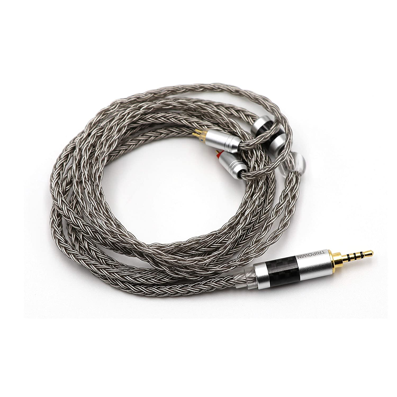 Linsoul Tripowin Zonie 16 Core Silver Plated Cable SPC Earphone Cable for TIN Audio T2 T3 UE900s SE215 SE425 BGVP Earphones MMCX-2.5mm, Grey