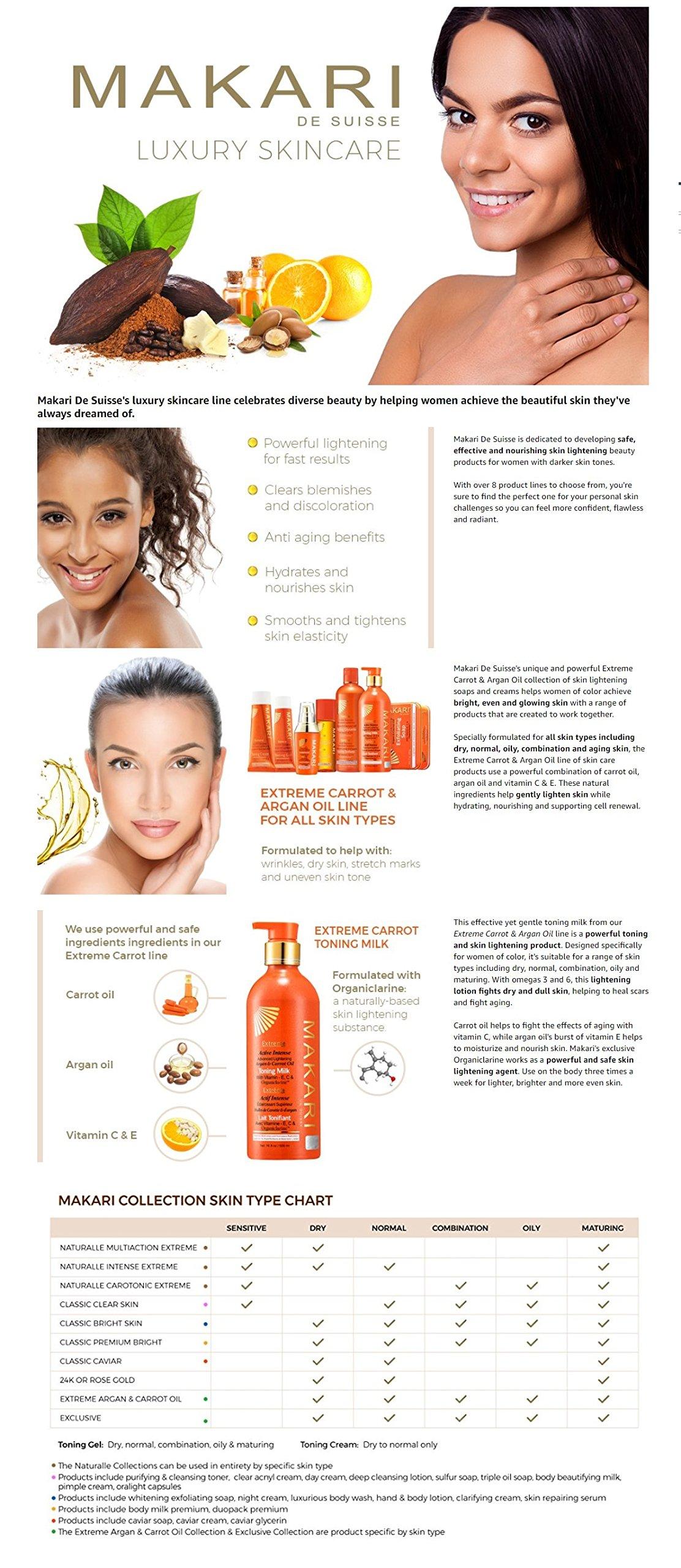 Makari Extreme Carrot & Argan Oil Skin Toning BODY MILK 16.8oz – Lightening 1