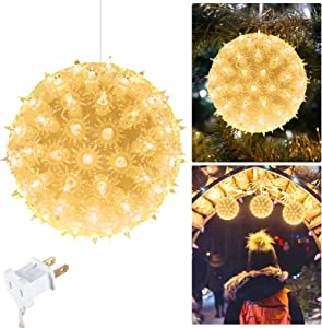 """6"""" Christmas Starlight Sphere Outdoor Clear Lighted Ball Hanging Lights 100 Replaceable Bulbs for Xmas Indoor Party Wedding Home Commercial Decorations, Stackable Plug (Clear)"""