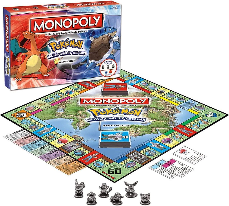 WOGQX Monopoly Pokemon Card Game para Juguetes para Niños, Juego De Mesa, Juego De Fiesta, Juego De Cartas, para 2-6 Jugadores, Mayores De 8 Años