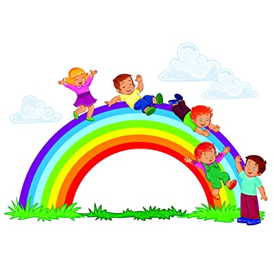 Rainbow Fun Kids Playing Playground Boys School Preschool Daycare Colorful Wall Decals - Boys Room Kids Decor Sticker Room Decoration for Bedrooms - Stickers Sticker Boy Designs Size 16x20 inch: Home & Kitchen