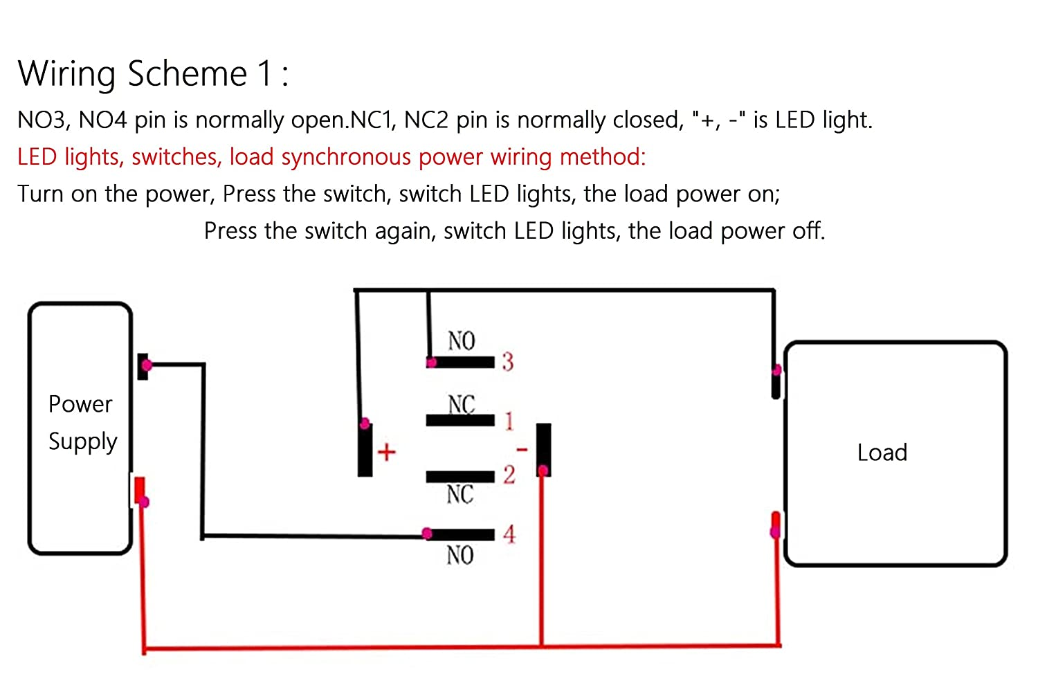 Knacro 30mm Metal Button Switch Momentary Push 3a Dc 12v Selflock Square Led Light Latching 24v Self Locking 2no 2nc Red Silver Alloy Contact Ip67 Ik10 For Car Diy